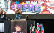 DJ Kool Herc (born Clive Campbell), the originator of Hip-Hop, performs with DJ Jerry Dee (left) at the '40th Anniversary of Hip-Hop Culture' concert at Central Park SummerStage, New York, New York, Saturday, August 10, 2013. CREDIT: Photograph © 2013 Jack Vartoogian/FrontRowPhotos. ALL RIGHTS RESERVED.